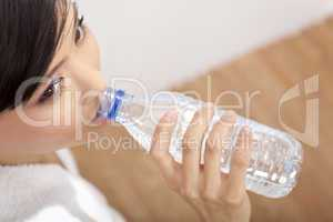 Asian Chinese Girl Drinking Bottle of Pure Water