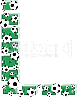 L, Alphabet Football letters made of soccer balls and fields. Vector