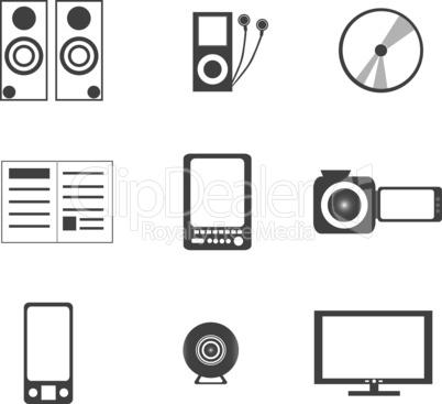 digital media electronics equipment icons
