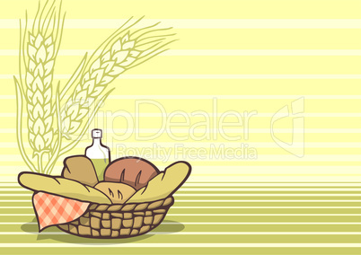 Basket of breads background