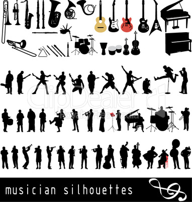 musician silhouettes set