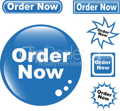 set of glossy button ORDER NOW blue icons