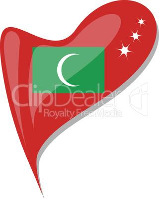 maldives flag button heart shape. vector