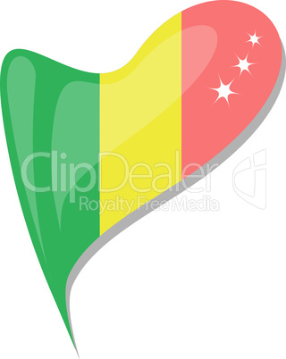 mali in heart. Icon of mali national flag. vector