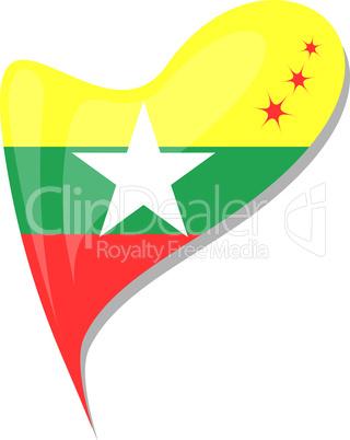 myanmar flag button heart shape. vector