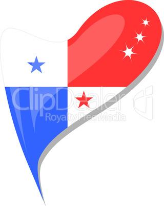 panama flag button heart shape. vector