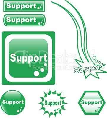 SUPPORT button set of different form web glass icon