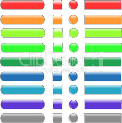 colored empty web button set of different form