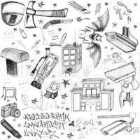 Hand Drawn doodle elements - cameras, drugs, weapons