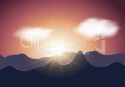 Vector sunrise mountains