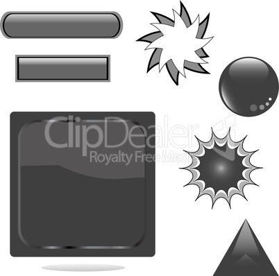 set of black shiny web empty button