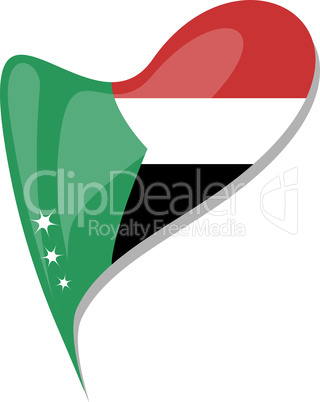 sudan in heart. Icon of sudan national flag. vector