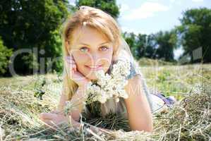 portrait of beautiful young women in nature