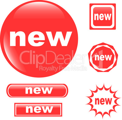NEW button set of different form web glossy icon