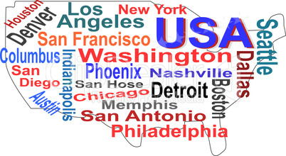 USA map and words cloud with larger cities