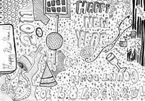 Happy new year hand drawn doodles