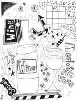 hand drawn wine doodles