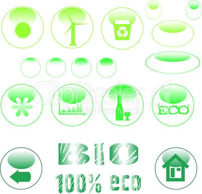 set of ecology symbol icon set green