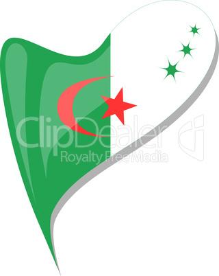 algeria in heart. Icon of algeria national flag. vector