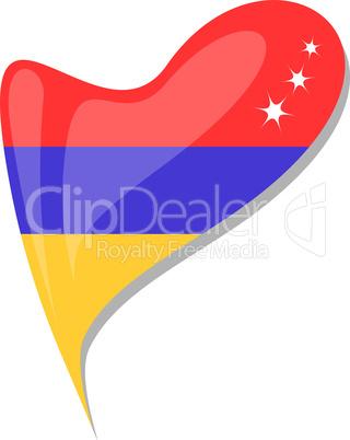 armenia in heart. Icon of armenia national flag. vector
