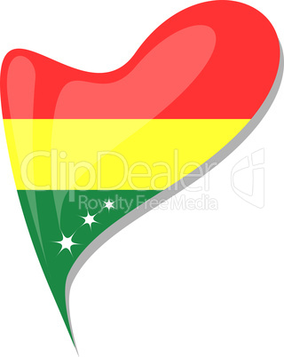 bolivia flag button heart shape. vector