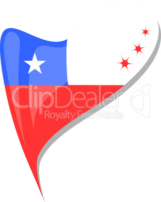chile flag button heart shape. vector