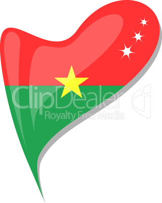 burkina faso in heart. Icon of burkina faso national flag. vector