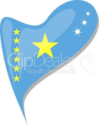 congo in heart. Icon of congo national flag. vector