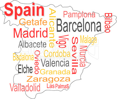 spain map and words cloud with larger cities