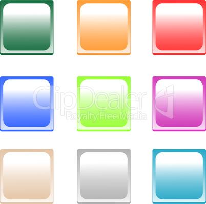 set of colored empty shiny button box icon