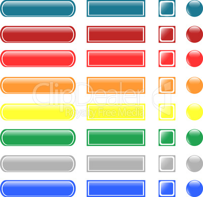 set of colored empty glass button icon