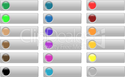 Empty Colored button set of different form web glass icon