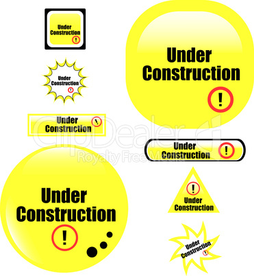 button under construction website set of glossy icon