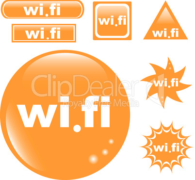 Wi Fi web button set glossy icon isolated