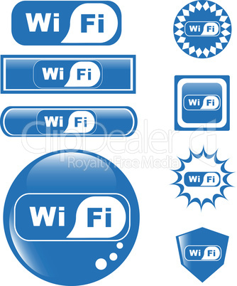 WiFi - blue button symbolizing wireless hot spot area