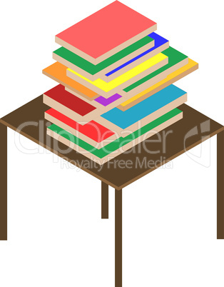 Many Books on brown table isolted on white