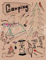 Hand drawn doodles - camping XXXL