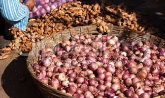 Zwiebeln und Ingwer, onions and ginger
