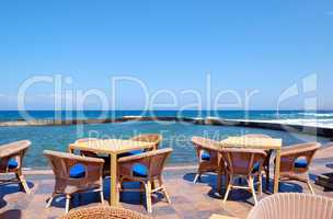 Outdoor restaurant at the seafront, Tenerife island, Spain