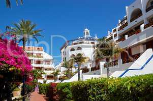 Building and recreation area of luxury hotel, Tenerife island, S