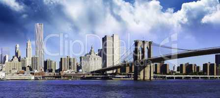 Clouds over Brooklyn Bridge in New York City