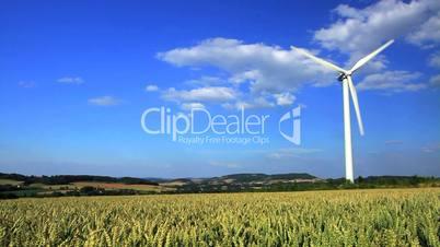 Windkraftanlage in einem Getreidefeld vor blauem Himmel, Westfalen, Deutschland