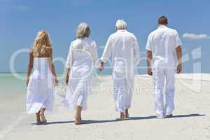 Four People, Two Seniors, Family Couples, Walking On Tropical Be