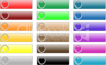 glossy empty web buttons colored set