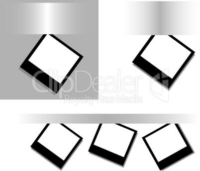 Photos on a gray surface