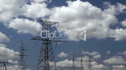 high voltage power pylons.