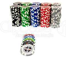 ultimate poker chips on white background