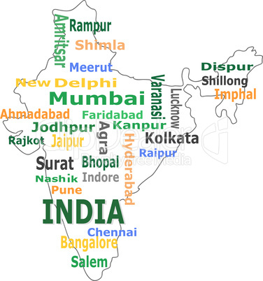 india map and words cloud with larger cities