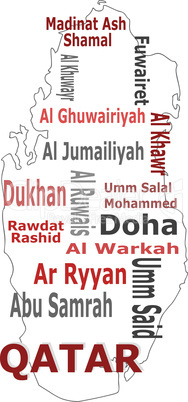qatar map and words cloud with larger cities