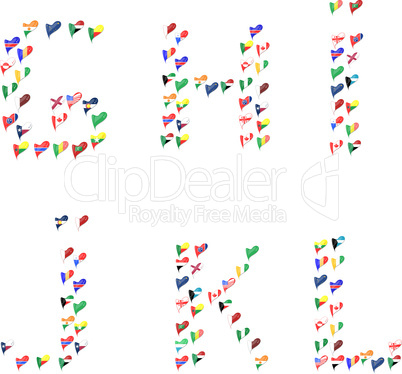 Alphabet letters font made of flags in heart